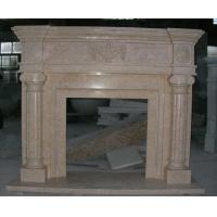 Quality Outside and inside Yellow- Pink Marble Fireplace mental, China Marble Fireplace for sale