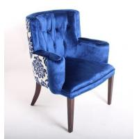 Quality Blue Velvet Tufted Chair Home Furniture , Wooden Arm Chairs Living Room for sale