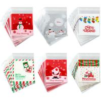 PE SELF ADHESIVE CLEAR CHRISTMAS CELLOPHANE TREAT BAGS FOR PACKAGING CANDY OR COOKIE for sale