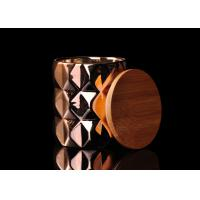 Buy Diamond Pattern Ceramic Candle Holder Electroplating Surface with Wooden Lid at wholesale prices