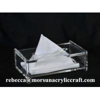 China Desk Top Organic Glass Napkin Box, Acrylic Tissue Holder For Hotel Supplies on sale