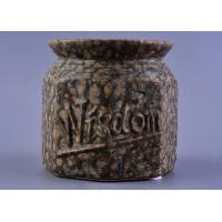 Quality Nut Pattern Ceramic Storage Jar / 440ml ceramic candle lantern With Rubber Foot for sale