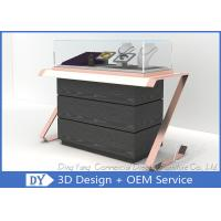 Quality Smart Fashionable Glass Jewelry Store Counters With Wood Storage for sale