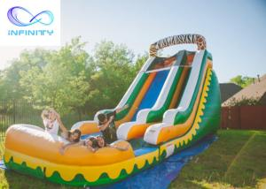 Quality Commercial High Quality Giant Adults N Kids Yellow Inflatable Jungle Water Slides With Pool for sale