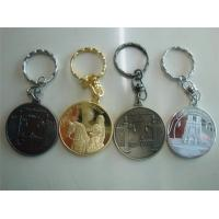 China Metal coin holder key chains, vintage coin key tag key chains, zinc alloy, electroplating, on sale