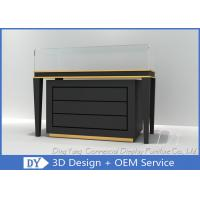 Quality Black Commercial Gold Shop Glass Counter with MDF Wood + Tempered Glass + Lights for sale