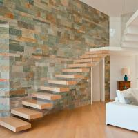 Quality Frameless Glass Railing Timber Steps Build Floating Staircase for sale