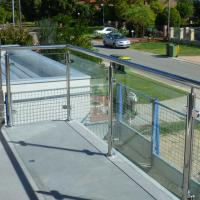Quality Exterior Stainless Steel Frameless Glass Frosted Deck Railing / Glass Deck Post for sale