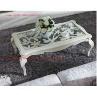 Quality Neoclassical style Coffee table in smart flower craft with tempered glass top and Teatable set with wood drawers for sale