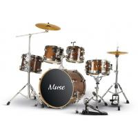 Quality Lacquered Full Size 5 Piece sound percussion drum set Walnut Brown for sale