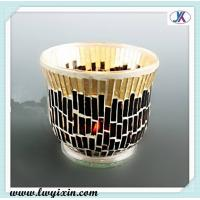 China Black and golden glass souvenirs /Mosaic glass candlestick/ recycled glass candle jars on sale