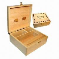 Quality Square wooden box, natural color for sale