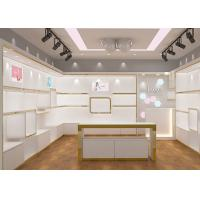Buy Adjustable Lady Shoe Store Shelves High Gloss White Gold Color Stable Structure at wholesale prices