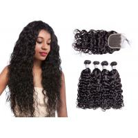 Quality No Tangling 100% Water Wave Hair Bundles With Closure Water Resistant for sale