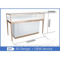 Quality Luxury Rose Gold Stainless Steel Jewellery Display Cabinets For Retail Shop for sale