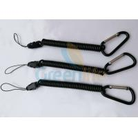 Quality Detachable Elastic Coil-Style Lanyard Black Rope With String Loop / Carabiner for sale