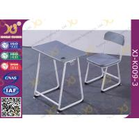 Quality Plastic Seat Customized Height Student Desk And Chair Set In Grey Color for sale