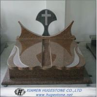 Quality Polishing Imperial Brown Granite Tombstone, Cross Shape Granite Monuments for sale