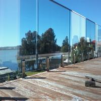 Quality Flooring mount Swimming Pool Tempered glass balustrades with steel spigots for sale