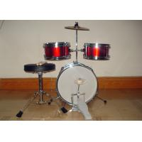 Quality 3 Piece Junior Red Acoustic Kids Drum Set Middle Size With Cymbal / Throne MU-3KM for sale