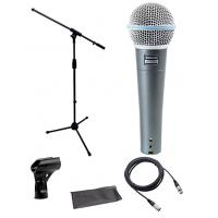 Quality Shure Beta 58a Microphone Bundle with Mic Boom Stand and XLR Cable DMS003-KIT for sale