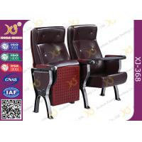 Quality Custom PU Leather Back Auditorium Theatre Seating Chairs With Tablet Arm for sale