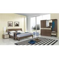Quality Walnut wood home bedroom furniture sets by curved headboard bed and full mirror stand for sale