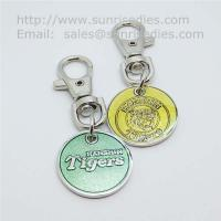 Quality Glass enamel metal coin key tags, glass enamel supermarket trolley coin holders, for sale
