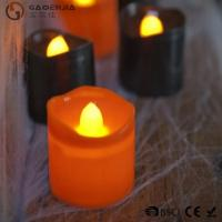 Quality Black Orange Plastic Halloween LED Tea Light Candles 6 Set RoHS for sale