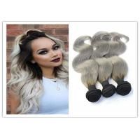 Quality Natural Silver Grey Ombre Human Hair Extensions Straight Brazilian Virgin Hair for sale