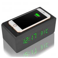 Quality Universal Creative Desktop Charging Station Wooden Case With LED Alarm Clock for sale