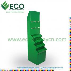 Quality POP POS Retail Cardboard Floor Display Shelf With Hooks, Cardboard Hook Display for sale