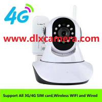 Buy cheap 4G SIM card wireless and wired wifi 128G SD two ways voice IP P2P PTZ camera from wholesalers