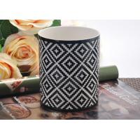 Quality Cylinder Porcelain candle holder ceramic Geometry Rhombus Pattern Cutting for sale