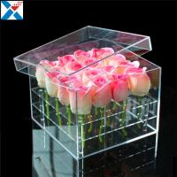 Quality Durable Square Acrylic Flower Box Makeup Organizer Rose Storage Cosmetic Case for sale