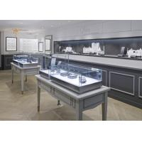 Quality Oblong Shape Matte Gray Glass Jewellery Display Cabinets Simple Modern Style for sale