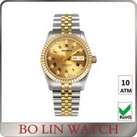 Quality 18K Full Gold Luminous Hands Watch , Ladies Gold Bracelet Watches With Date Window for sale