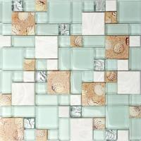 Quality Resin White Lip Pearl Aqua Shell Mosaic Tile Mix Beach Conch For Glass Countertop for sale