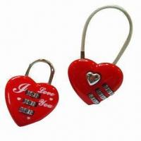 Quality Combination locks in heart shape, made of zinc alloy for sale