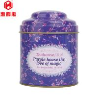 Quality Wholesale Custom Round Metal Empty Tea Tin Box with Double Lid for sale
