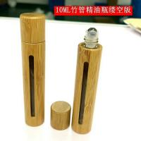 Quality 10ML cosmetic packaging empty bamboo material refillable perfume roll on bottle with metal roller for sale