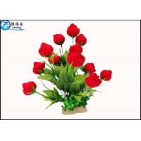 Quality Red Rose Flowers Water Drops Plastic Aquatic Plants With Ceramic Base For Home Decorations for sale