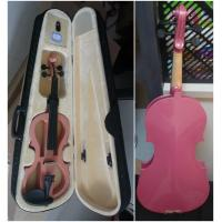 Quality Pink Solid Basswood Junior Electric Violins Ebony Parts With Case And Bow Promotion for sale