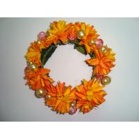 Quality Orange   Silk Artificial Ddecorative Flowers Garlands for Wall Mounted Decorations   for sale