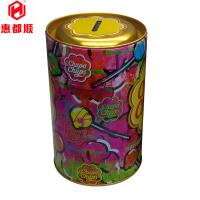 Quality wholesale custom Exquisit CMYK print round coin bank tin box packaging for sale
