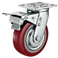 """Quality 6""""x 2""""Industrial Total Locking Brake Heavy Duty Castor PU Wheel With Swivel Plate Mounted for sale"""