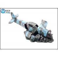 Quality Black Blue Cool Fish Tank Decorations , Helicopter Wreck Aquarium Ornament for sale