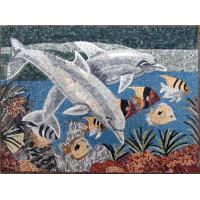 Quality Blue Sea White Dolphins Mosaic Art Patterns Medallion Fish Border Marble Mosaic Tile for sale