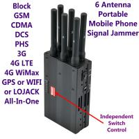 Quality 6 Antenna High Power Portable Cell Phone Signal Jammer GSM 3G 4G LTE WIMAX GPS WIFI LOJACK for sale