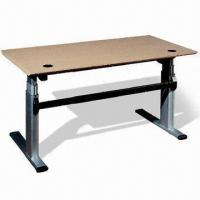 China Power Driven, Height-Adjustable Wooden Office Desks, Made of MFC with Wooden Grain on sale